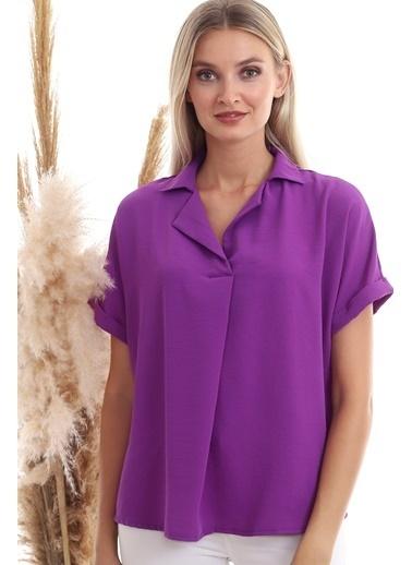 Cottonmood 9152967 Sunshıne Ceket Yaka Sırtı Düğme Detaylı Yarasa Bluz Mor Mor